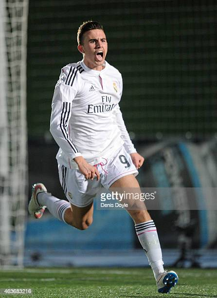 Borja Mayoral of Real Madrid celebrates after scoring Real's opening goal during the UEFA Youth League Round of 16 match between Real Madrid and FC...
