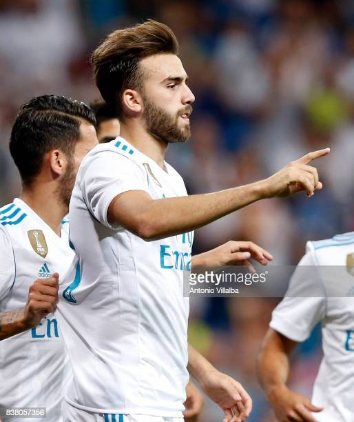 Borja Mayoral of Real Madrid celebrates after scoring the first goal during the Trofeo Santiago Bernabeu match between Real Madrid and ACF Fiorentina...