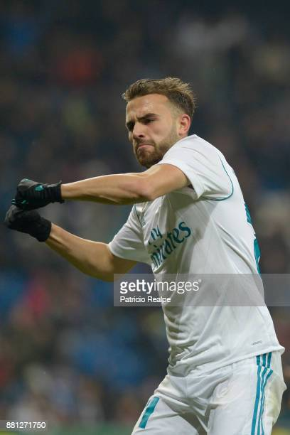 Borja Mayoral of Real Madrid celebrates after scoring the second goal of his team during a match between Real Madrid and Feunlabrada as part of Copa...