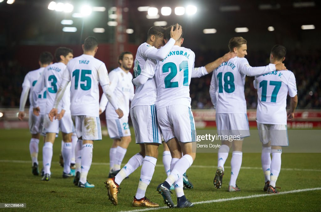 Borja Mayoral of Real Madrid celebrates with Achraf Hakimi after scoring his team's 3rd goal during the Copa del Rey match between Numancia and Real Madrid at Nuevo Estadio Los Pajarito on January 4, 2018 in Soria, Spain.