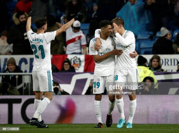 Borja Mayoral of Real Madrid celebrates with his teammates Marcos Llorente and Achraf Hakimi after scoring a goal during the King's Cup soccer match...