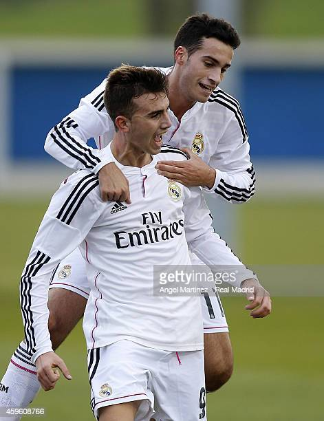 Borja Mayoral of Real Madrid celebrates with Jose Carlos Lazo after scoring their team's second goal during the UEFA Youth League match between FC...