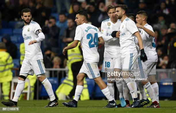 Borja Mayoral of Real Madrid celebrates with team mates after scoring their team's second goal during the Copa del Rey round of 32 second leg match...