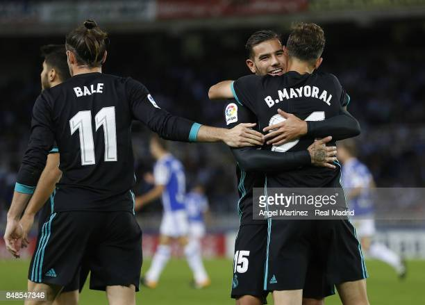 Borja Mayoral of Real Madrid celebrates with Theo Hernandez their team's second goal during the La Liga match between Real Sociedad and Real Madrid...