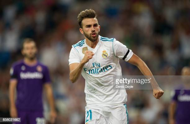 Borja Mayoral of Real Madrid CF celebrates after scoring his team's opening goal during the Santiago Bernabeu Trophy match between Real Madrid CF and...