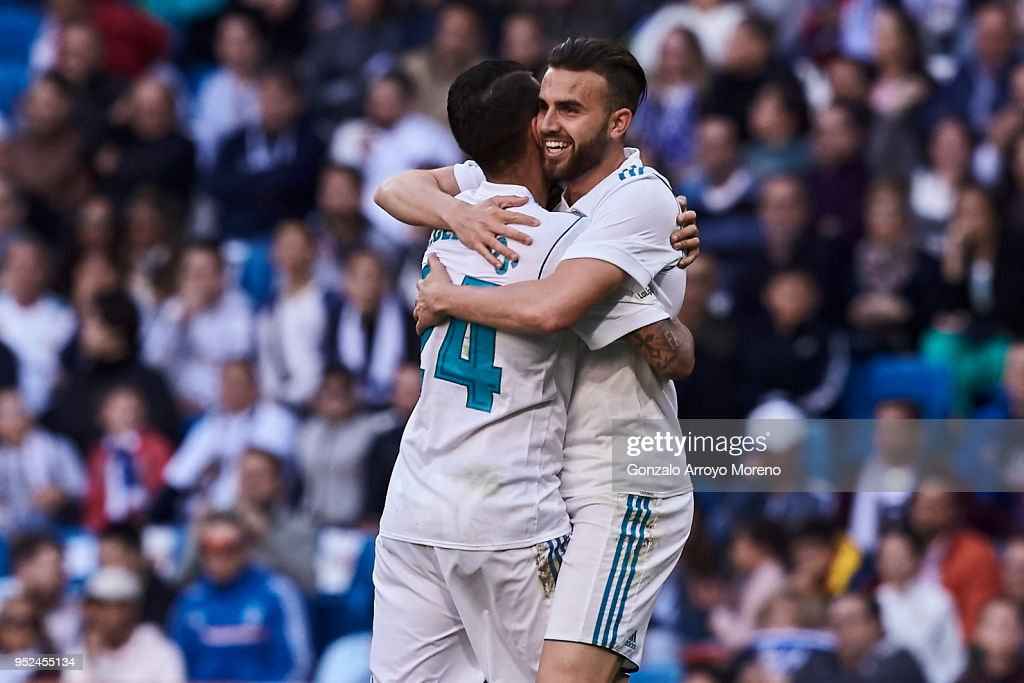 Borja Mayoral (R) of Real Madrid CF celebrates scoring their second goal with teammate Daniel Ceballos (L) during the La Liga match between Real Madrid CF and Deportivo Leganes at Estadio Santiago Bernabeu on April 28, 2018 in Madrid, Spain.