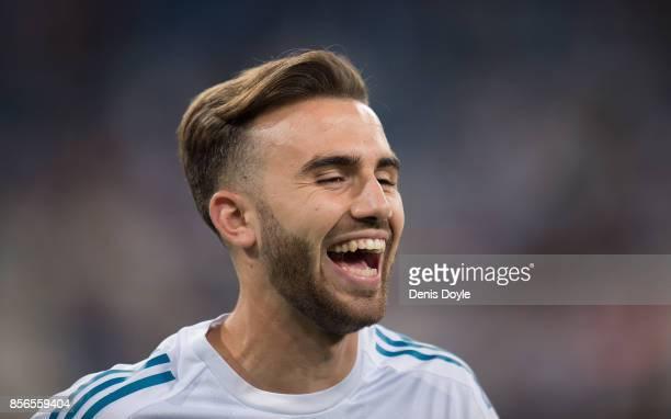 Borja Mayoral of Real Madrid CF has a laugh during warmup ahead of the La Liga match between Real Madrid and Espanyol at Estadio Santiago Bernabeu on...