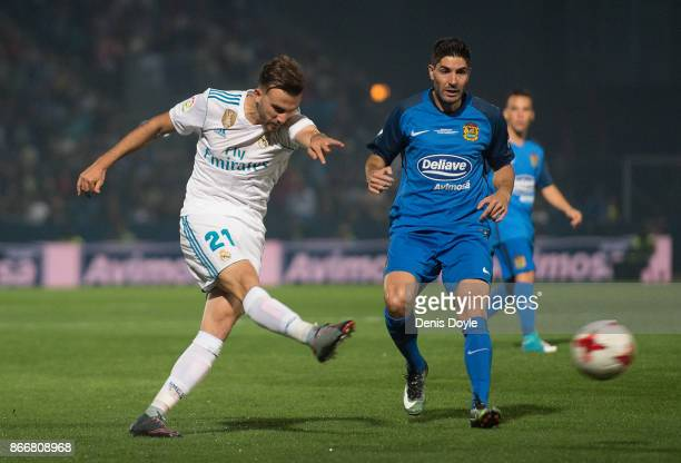 Borja Mayoral of Real Madrid CF has a shot at goal during the Copa del Rey Round of 32 First Leg match between Fuenlabrada and Real Madrid at Estadio...