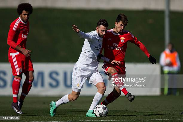 Borja Mayoral of Real Madrid CFa competes for the ball with Pedro Rodrigues of SL Benfica during the UEFA Youth League Quarter Finals match between...