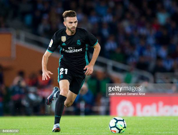 Borja Mayoral of Real Madrid controls the ball during the La Liga match between Real Sociedad de Futbol and Real Madrid at Estadio Anoeta on...