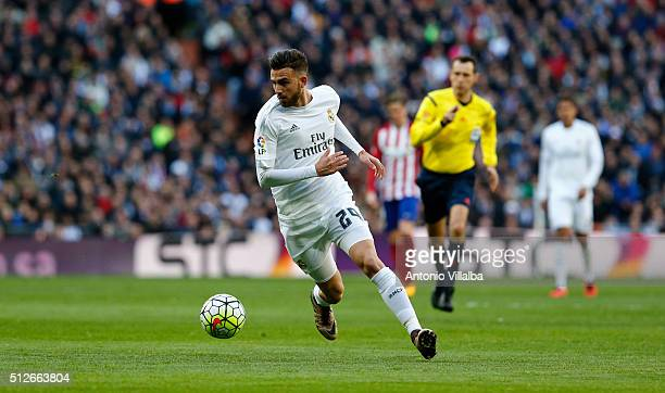 Borja Mayoral of Real Madrid during the La Liga match between Real Madrid CF and Club Atletico de Madrid at Estadio Santiago Bernabeu on February 27...