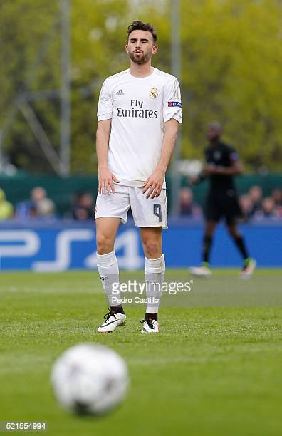 Borja Mayoral of Real Madrid gestures during the UEFA Youth League semi final match between Real Madrid CF and Paris Saint Germain at Colovray on...