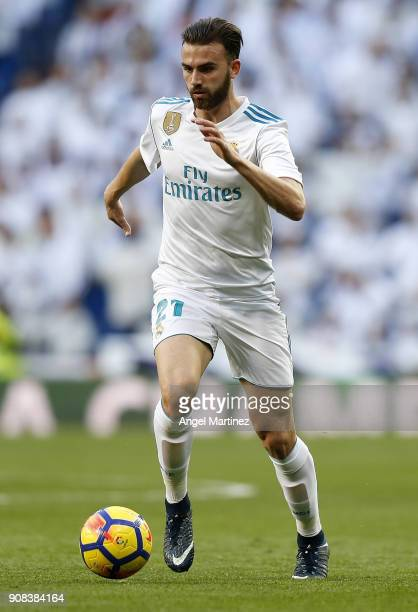 Borja Mayoral of Real Madrid in action during the La Liga match between Real Madrid and Deportivo La Coruna at Estadio Santiago Bernabeu on January...