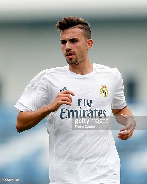 Borja Mayoral of Real Madrid in action during the UEFA Youth League match between Real Madrid and FC Shakhtar Donetsk at Estadio Alfredo Di Stefano...