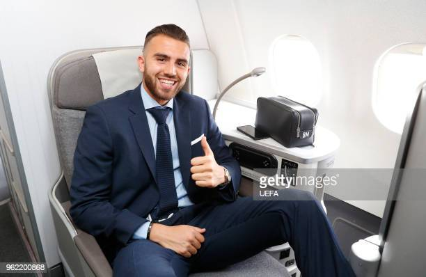 Borja Mayoral of Real Madrid poses as he arrives ahead of the UEFA Champions League Final at KBP Airport on May 24 2018 in Kiev Ukraine
