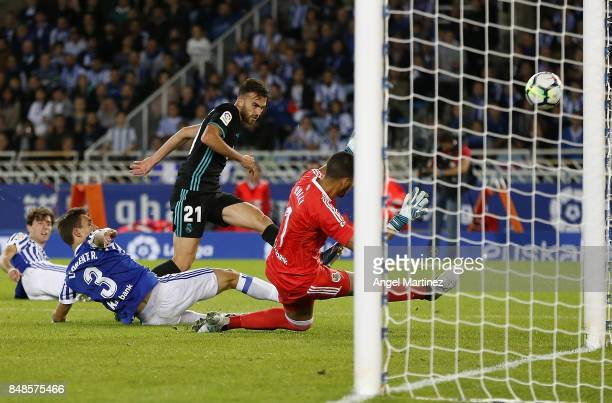 Borja Mayoral of Real Madrid shoots on goal past Geromino Rulli of Real Sociedad during the La Liga match between Real Sociedad and Real Madrid CF at...