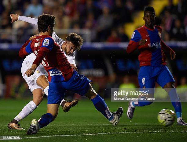 Borja Mayoral of Real Madrid takes a shot on goal during the La Liga match between Levante UD and Real Madrid at Ciutat de Valencia on March 02 2016...