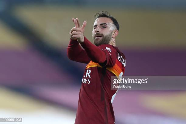 Borja Mayoral of Roma celebrates after scoring their side's third goal during the Serie A match between AS Roma and Hellas Verona FC at Stadio...