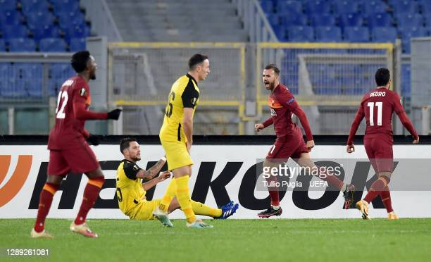Borja Mayoral of Roma celebrates after scoring their team's first goal during the UEFA Europa League Group A stage match between AS Roma and BSC...