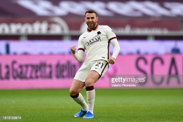 Borja Mayoral of Roma celebrates after scoring their team's first goal during the Serie A match between Torino FC and AS Roma at Stadio Olimpico di...