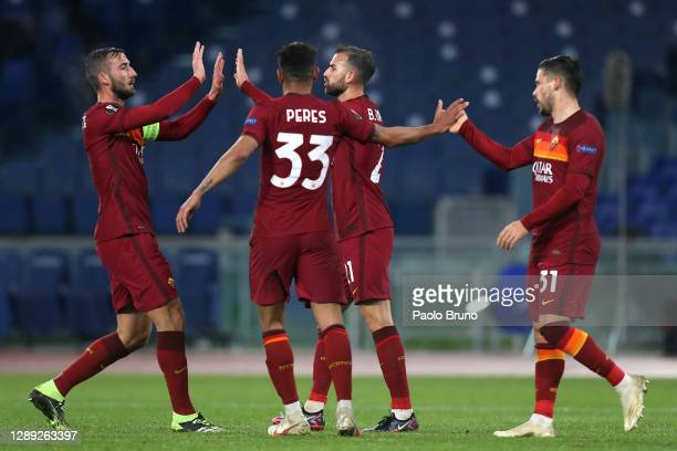 Borja Mayoral of Roma celebrates with Bryan Cristante, Bruno Peres and Carles Perez after scoring their team's first goal during the UEFA Europa...