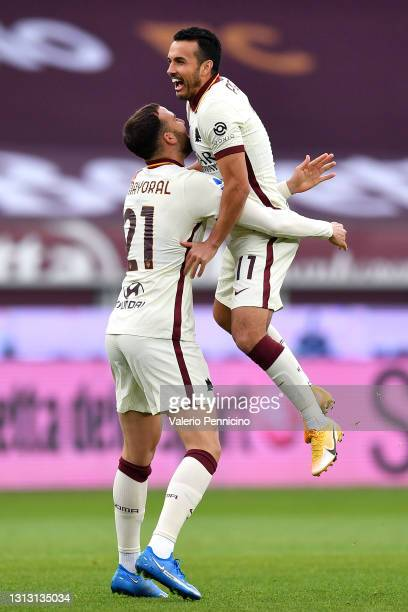 Borja Mayoral of Roma celebrates with teammate Pedro after scoring their team's first goal during the Serie A match between Torino FC and AS Roma at...