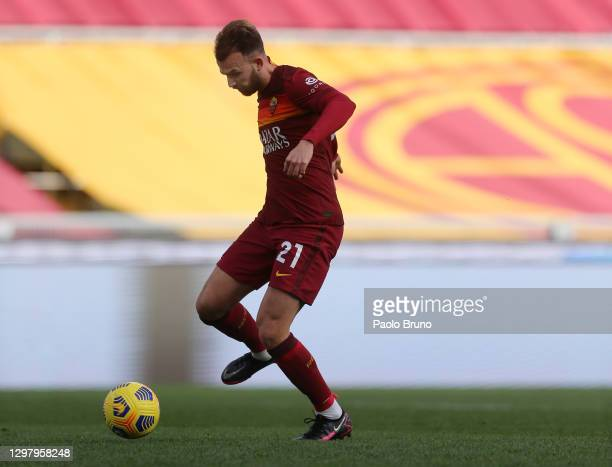 Borja Mayoral of Roma scores his team's first goal during the Serie A match between AS Roma and Spezia Calcio at Stadio Olimpico on January 23, 2021...