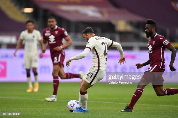Borja Mayoral of Roma scores their team's first goal during the Serie A match between Torino FC and AS Roma at Stadio Olimpico di Torino on April 18,...