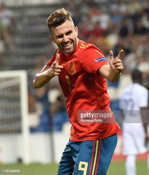 Borja Mayoral of Spain celebrates after scoring goal 41 during the 2019 UEFA U21 SemiFinal match between Spain and France at Mapei Stadium Citta' del...
