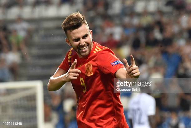 Borja Mayoral of Spain celebrates after scoring goal 4-1 during the 2019 UEFA U-21 Semi-Final match between Spain and France at Mapei Stadium -...