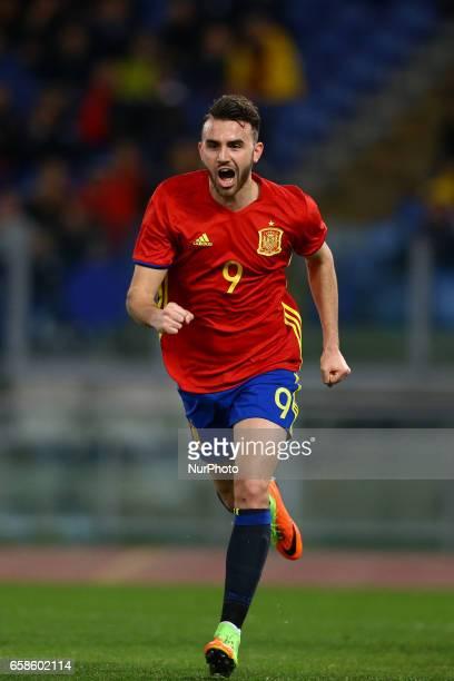 Borja Mayoral of Spain celebrating the goal of 02 scored during the international friendly match between Italy U21 and Spain U21 at Olimpico Stadium...