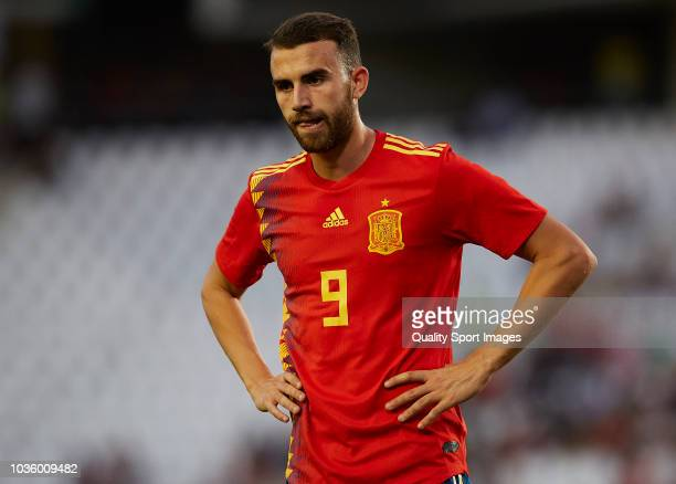 Borja Mayoral of Spain looks on during the 2019 UEFA Under 21 qualifier match between Spain U21 and Albania U21 at Nuevo Arcangel Stadium on...