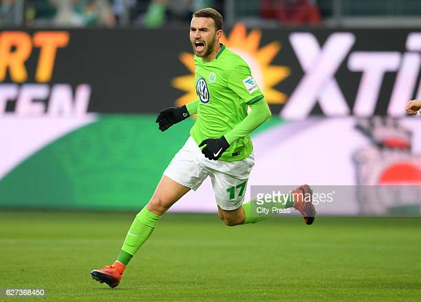 Borja Mayoral of VfL Wolfsburg celebrates after scoring the 10 during the game between VfL Wolfsburg and Hertha BSC on december 3 2016 in Wolfsburg...