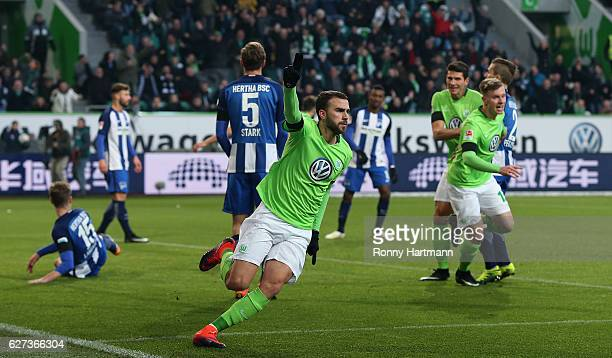 Borja Mayoral of Wolfsburg celebrates after scoring his team's opening goal during the Bundesliga match between VfL Wolfsburg and Hertha BSC at...