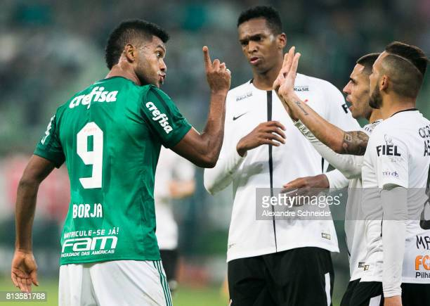 Borja of Palmeiras shouts during the match between Palmeiras and Corinthians for the Brasileirao Series A 2017 at Allianz Parque Stadium on July 12...