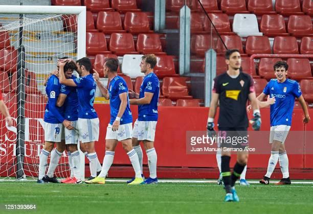 Borja Sanchez of Real Oviedo celebrates after scoring goal during the La Liga Smartbank match between Sporting de Gijon and Real Oviedo at El Molinon...