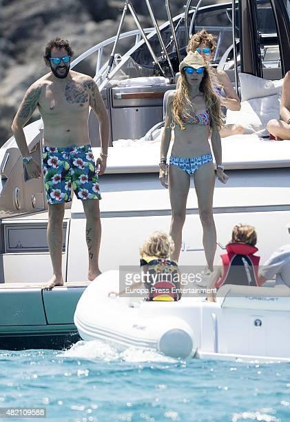 Borja ThyssenBornemisza Blanca Cuesta and their sons Sacha and Eric are seen celebrating Borja's 35th birthday on July 24 2015 in Ibiza Spain