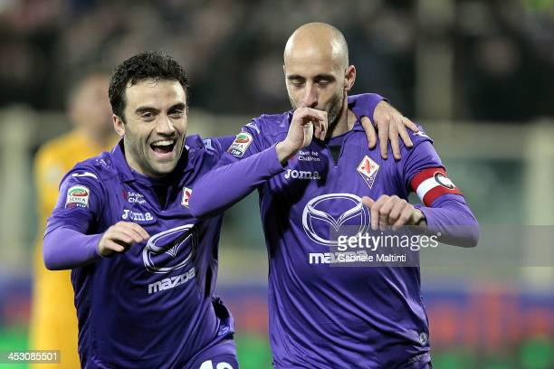 Borja Valero and Giuseppe Rossi of ACF Fiorentina celebrates after scoring a goal during the Serie A match between ACF Fiorentina and Hellas Verona...