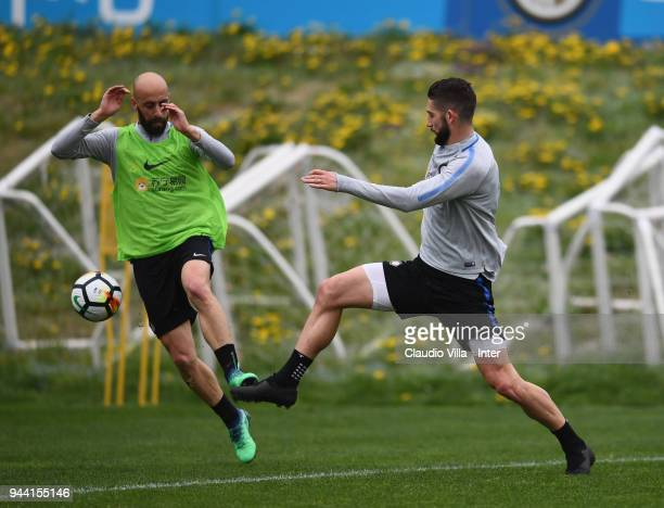 Borja Valero and Roberto Gagliardini of FC Internazionale compete for the ball during the FC Internazionale training session at the club's training...