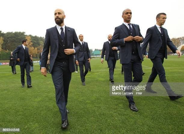 Borja Valero Joao Mario and Ivan Perisic of FC Internazionale back stage during the FC Internazionale Official Photoshoot at the club's training...