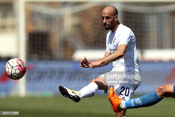 Borja Valero of ACF Fiorentina in action during the Serie A match between Empoli FC and ACF Fiorentina at Stadio Carlo Castellani on April 10 2016 in...