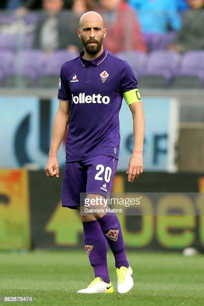 Borja Valero of ACF Fiorentina in action during the Serie A match between ACF Fiorentina and Bologna FC at Stadio Artemio Franchi on April 2 2017 in...