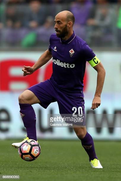Borja Valero of ACF Fiorentina in action during the Serie A match between ACF Fiorentina and Empoli FC at Stadio Artemio Franchi on April 15 2017 in...