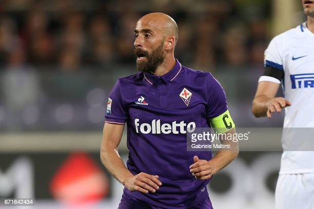 Borja Valero of ACF Fiorentina in action during the Serie A match between ACF Fiorentina v FC Internazionale at Stadio Artemio Franchi on April 22...