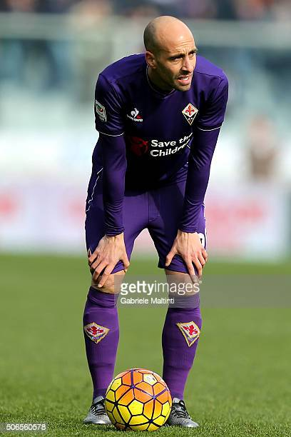 Borja Valero of ACF Fiorentina reacts during the Serie A match between ACF Fiorentina and Torino FC at Stadio Artemio Franchi on January 24 2016 in...