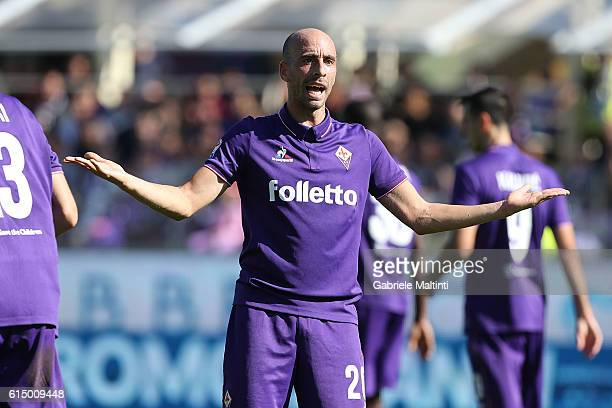 Borja Valero of ACF Fiorentina reacts during the Serie A match between ACF Fiorentina and Atalanta BC at Stadio Artemio Franchi on October 16 2016 in...