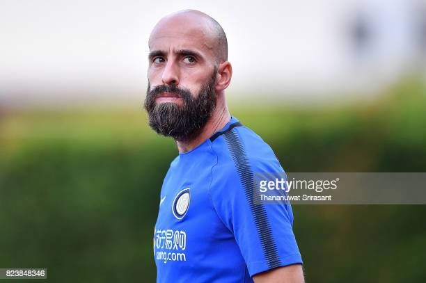 Borja Valero of FC Interernazionale looks during an official ICC Singapore Training Session at Bishan Stadium on July 28 2017 in Singapore