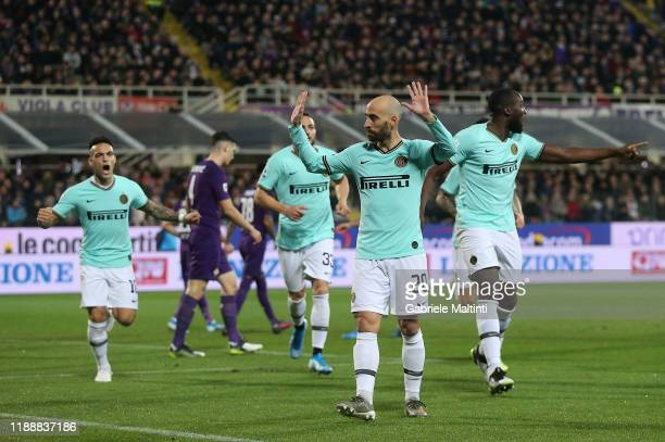Borja Valero of FC Internazionale celebrates after scoring a goal during the Serie A match between ACF Fiorentina and FC Internazionale at Stadio...