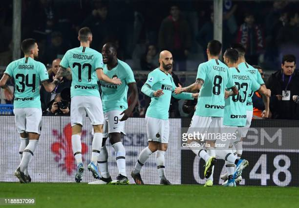 Borja Valero of FC Internazionale celebrates after scoring the opening goal during the Serie A match between ACF Fiorentina and FC Internazionale at...