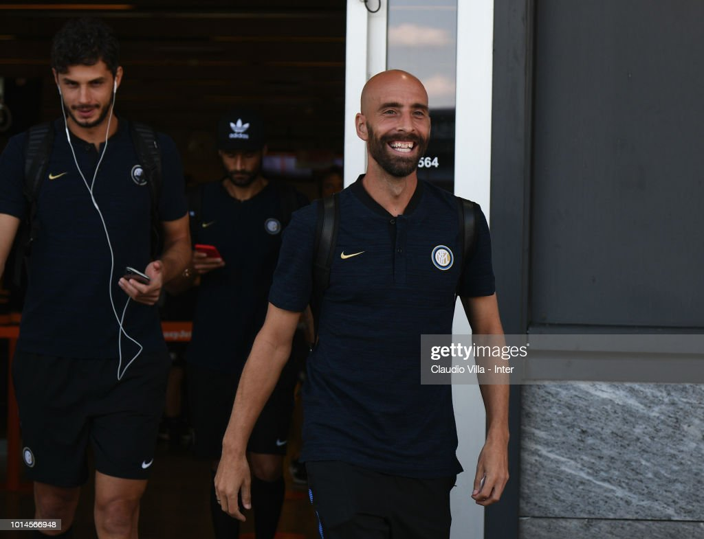 Borja Valero of FC Internazionale departs from Malpensa Airport on August 10, 2018 in Milan, Italy.